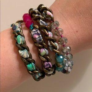 Adjustable Pink & Teal Bead & Chain Wrap Bracelet